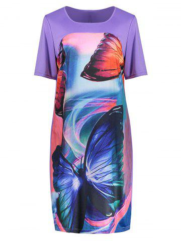 Chic Butterfly Printed Plus Size Casual T-shirt Dress PURPLE 2XL