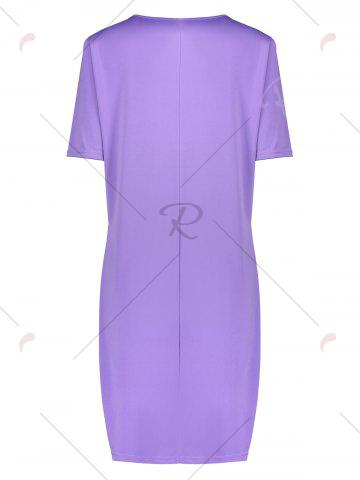 Discount Butterfly Printed Plus Size Casual T-shirt Dress - 2XL PURPLE Mobile