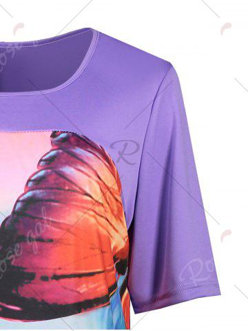 Buy Butterfly Printed Plus Size Casual T-shirt Dress - 2XL PURPLE Mobile