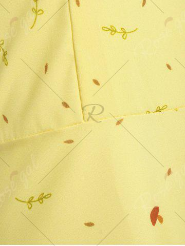 Fashion Plus Size Tree Printed Retro Flare Dress with Belt - 5XL YELLOW Mobile