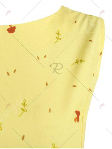 Unique Plus Size Tree Printed Retro Flare Dress with Belt - 5XL YELLOW Mobile