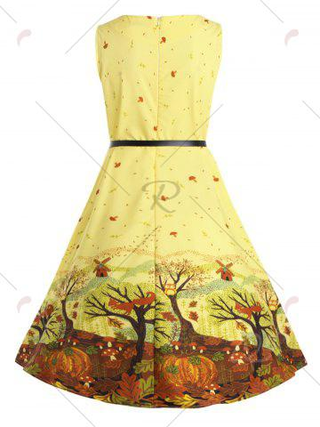 Buy Plus Size Tree Printed Retro Flare Dress with Belt - 5XL YELLOW Mobile