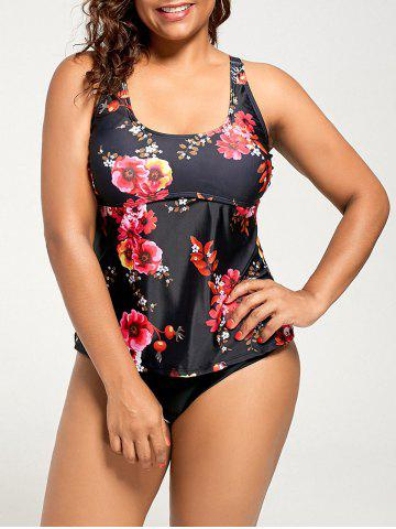Shops Floral Padded Plus Size Vintage Tankini Set - 2XL BLACK Mobile