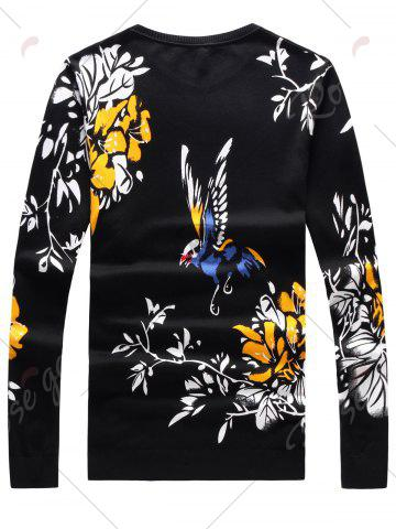 Best Long Sleeve 3D Birds and Floral Print Sweater - L BLACK Mobile