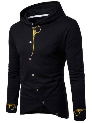 Long Sleeve Oblique Buttons Design Embroidered T-shirt - Black - M