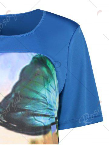 Fashion Butterfly Printed Plus Size Casual T-shirt Dress - 6XL BLUE Mobile