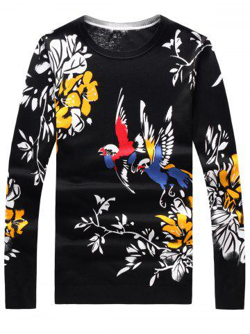 Unique Long Sleeve 3D Birds and Floral Print Sweater - 3XL BLACK Mobile