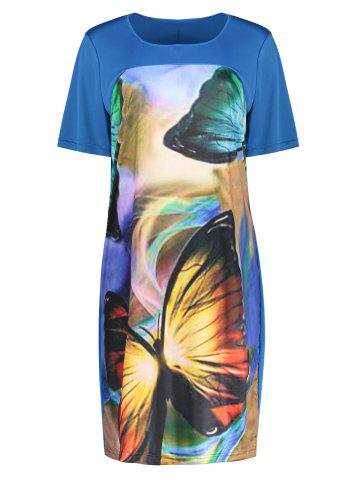 Shop Butterfly Printed Plus Size Casual T-shirt Dress BLUE 6XL