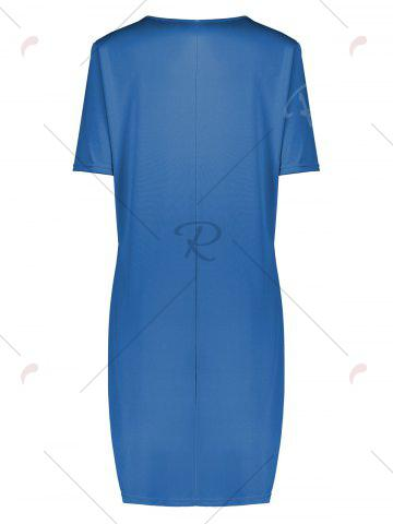 Store Butterfly Printed Plus Size Casual T-shirt Dress - 5XL BLUE Mobile