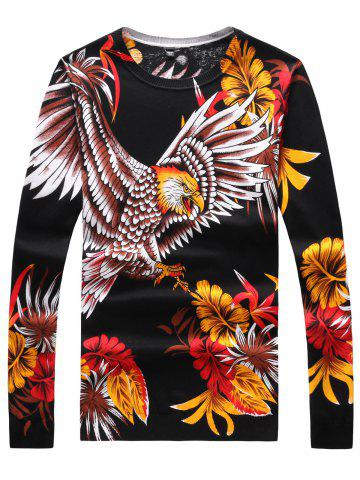 Best Long Sleeve 3D Flower and Eagle Print Sweater - 3XL BLACK Mobile