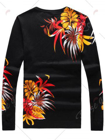 Cheap Long Sleeve 3D Flower and Eagle Print Sweater - 3XL BLACK Mobile