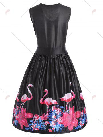 Unique Flamingo Bird Plus Size V Neck Midi Vintage Dress - 4XL BLACK Mobile