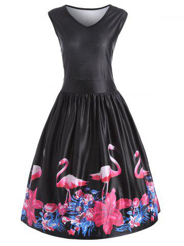 New Flamingo Bird Plus Size V Neck Midi Vintage Dress - 5XL BLACK Mobile