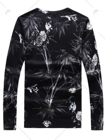 Outfit 3D Flower Print Crew Neck Long Sleeve Sweater - 2XL BLACK Mobile