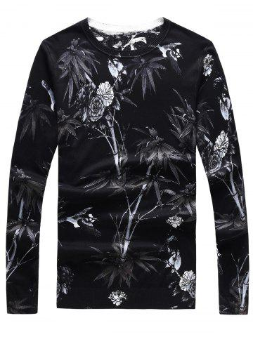 Latest 3D Flower Print Crew Neck Long Sleeve Sweater - 3XL BLACK Mobile