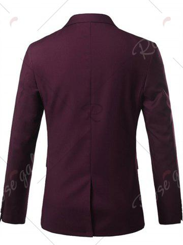 Buy One Button Lapel Casual Blazer - 3XL WINE RED Mobile