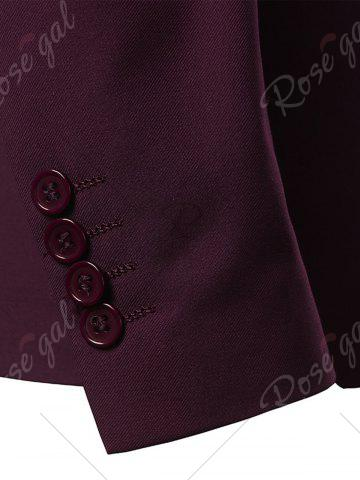 Outfit One Button Lapel Casual Blazer - 3XL WINE RED Mobile