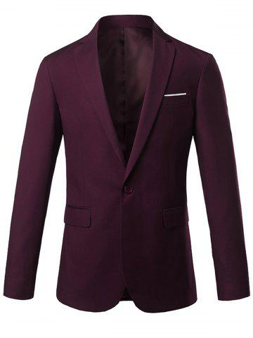 Store One Button Lapel Casual Blazer - 3XL WINE RED Mobile