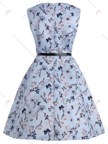 Outfits Floral Plus Size Vintage Style Dress with Belt - 2XL BLUE Mobile