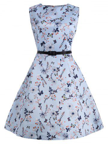 Buy Floral Plus Size Vintage Style Dress with Belt - 5XL BLUE Mobile
