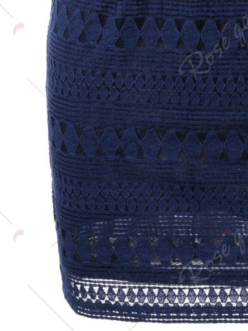 Chic Plunging Neckline Lace Mini Bodycon Dress - XL DEEP BLUE Mobile