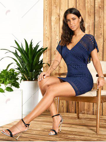 New Plunging Neckline Lace Mini Bodycon Dress - XL DEEP BLUE Mobile