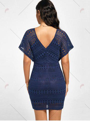 Latest Plunging Neckline Lace Mini Bodycon Dress - XL DEEP BLUE Mobile
