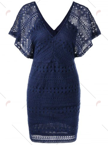 Trendy Plunging Neckline Lace Mini Bodycon Dress - XL DEEP BLUE Mobile