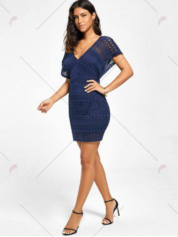 Outfits Plunging Neckline Lace Mini Bodycon Dress - XL DEEP BLUE Mobile