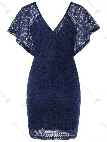 Buy Plunging Neckline Lace Mini Bodycon Dress - XL DEEP BLUE Mobile