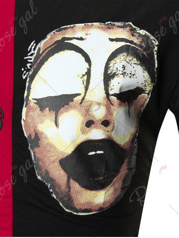 Latest Color Block Clown Print Embroidery Tee - M RED WITH BLACK Mobile
