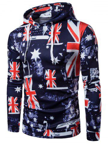 Patriotic 3D Star and Union Flag Print Hoodie - Colormix - 2xl