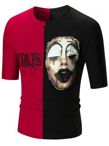 Chic Color Block Clown Print Embroidery Tee RED/BLACK XL