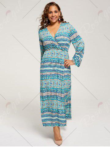 Hot Long Sleeve Plus Size Maxi Bohemian Dress - XL LAKE BLUE Mobile