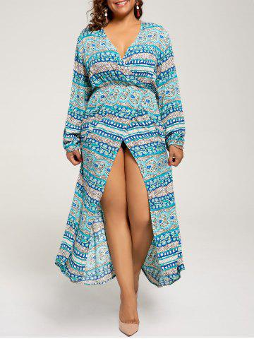 Affordable Long Sleeve Plus Size Maxi Bohemian Dress - XL LAKE BLUE Mobile