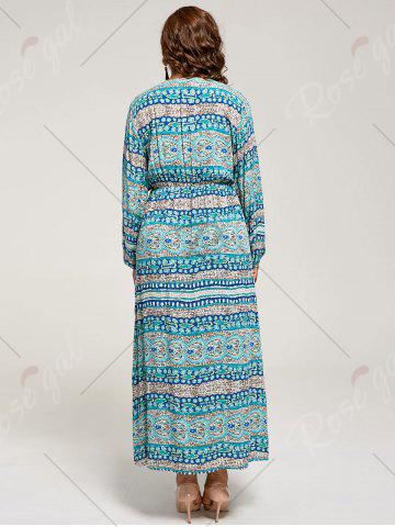 Outfit Long Sleeve Plus Size Maxi Bohemian Dress - XL LAKE BLUE Mobile