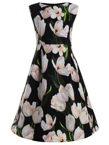 Fancy Tulip Flower Plus Size Vintage Ball Dress - XL BLACK Mobile