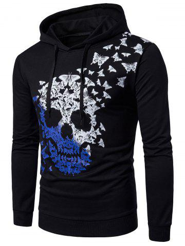 Latest Hooded Butterfly and Ombre Skull Print Hoodie - L BLACK Mobile