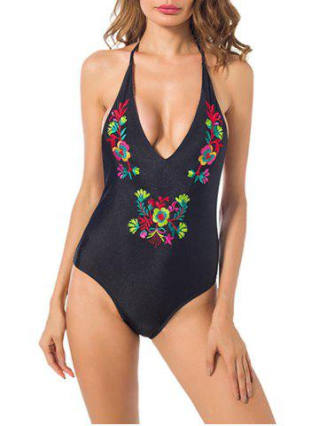 Hot Embroidered Open Back One Piece Swimsuit - S BLACK Mobile