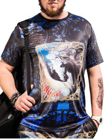 Store Horse Printed Plus Size Short Sleeves T-shirt - 4XL BLACK Mobile