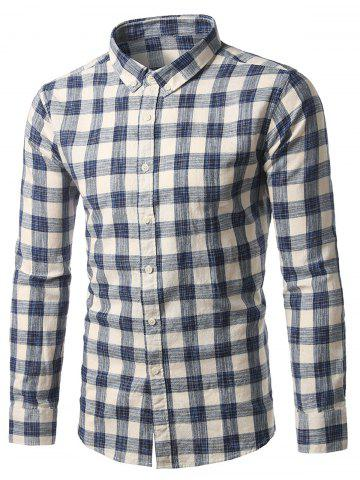 Fashion Button-Down Long Sleeve Plaid Shirt BLUE M