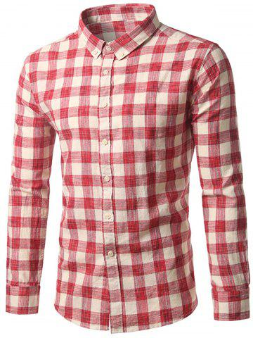 Cheap Button-Down Long Sleeve Plaid Shirt RED XL