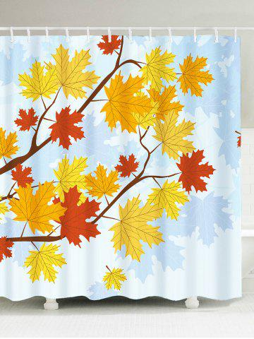 Affordable Bathroom Product Maple Leaf Print Waterproof Shower Curtain COLORFUL W71 INCH * L79 INCH