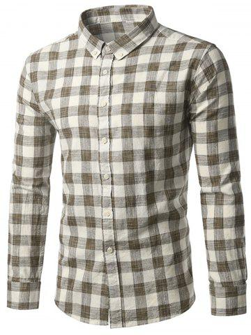 New Button-Down Long Sleeve Plaid Shirt COFFEE 2XL