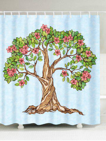 Hot Tree of Life Floral Waterproof Shower Curtain LIGHT BLUE W71 INCH * L71 INCH