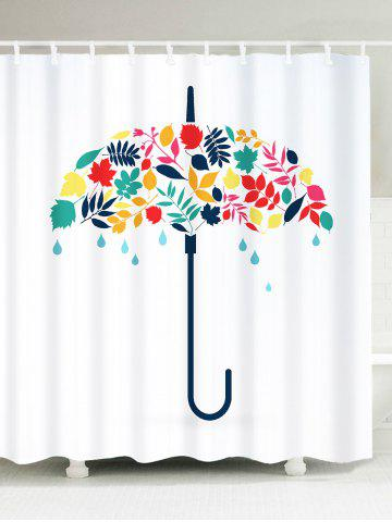Fancy Umbrella Leaf Print Waterproof Fabric Shower Curtain WHITE W59 INCH * L71 INCH