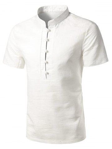 Affordable Mandarin Collar Short Sleeve Shirt WHITE 2XL