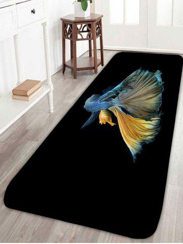 Chic Skidproof Betta Fish Print Area Rug - W16 INCH * L47 INCH BLACK Mobile