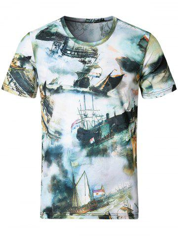 New Short Sleeve Sailing Ship Print Tee - M COLORMIX Mobile