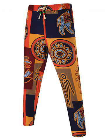 Tribal Print Drawstring Patchwork Pants - Colormix - 6xl